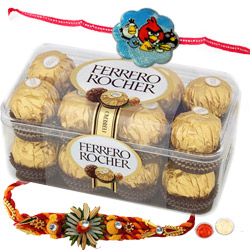 Attractive Single Rakhi with Ferrero Rochers