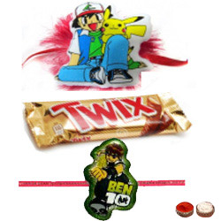 Majestic Ben10, Pokemon Kids Rakhi And Twix Chocolate