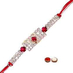 Exclusive 1 Bracelet Rakhi with White Stone