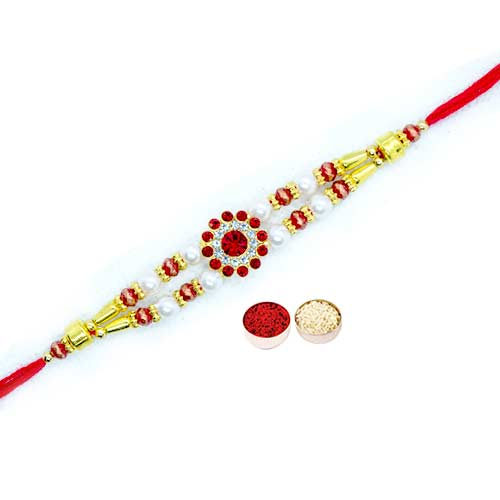 Fashionable One Round White Stone Rakhi