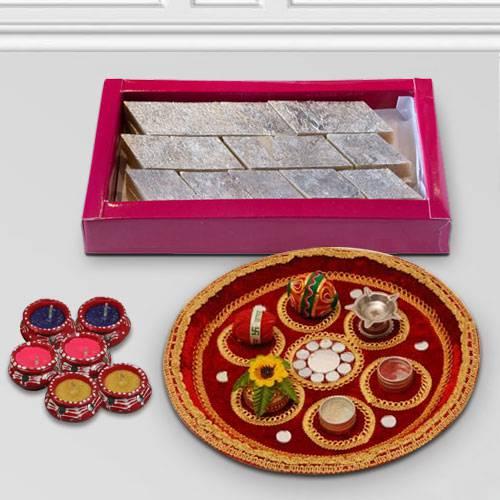 Yummy Katli with Diwali Thali