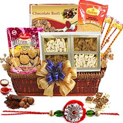 Appealing Rakhi Delicacies in a Basket