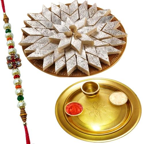 Special Gold Plated Pooja Thali with <font color=#FF0000>Haldiram</font>s Kaju Katli