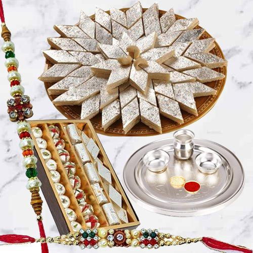 Special Gold Thali with Haldiram Kaju Katli and Dry Fruits with Free Rakhi