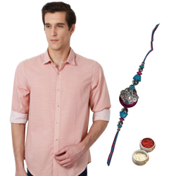 Orange Printed Casual Peter England Shirt and Rakhi Combo