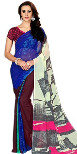 Charismatic Printed Marbel Chiffon Fashion Saree for Ladies