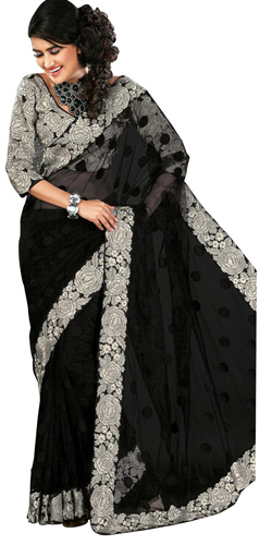 Amazing Black colored Printed Net Saree