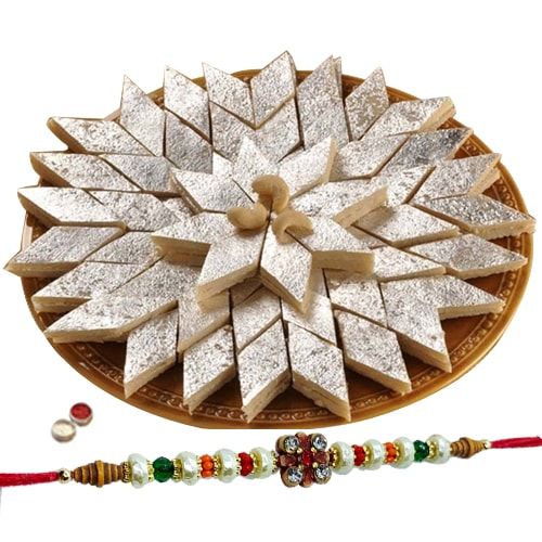 Mouth-Watering <font color=#FF0000>Haldiram</font> Kaju Katli with 1 Free Rakhi, Roli Tilak and Chawal
