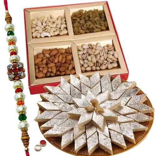 Lovely <font color=#FF0000>Haldiram</font> sweets,Dry fruits with free Rakhi, Roli tilak and Chawal