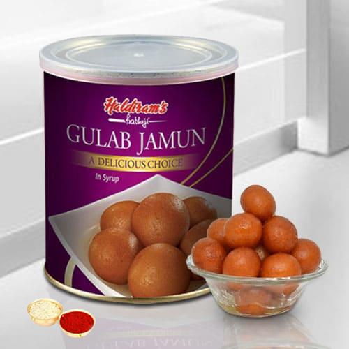 Gulab Jamun from Haldiram with free Roli Tilak and Chawal.