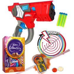 Mattels Cheerful Agility Dart Gun and Kids Rakhi, Cadbury Celebration Mini with Free Roli Tilak and Chawal