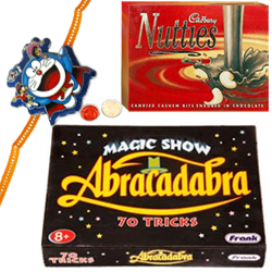 Magic Tricks Game and Kids Rakhi, Cadbury Nutties with Free Roli Tilak and Chawal