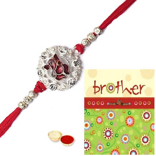 Divine Ganesh Rakhi and Rakhi Card with Thread Rakhi
