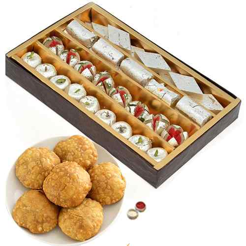 Rakhi With Mix Mithai And Kachori