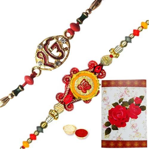 Delightful Gift of 2 Designer Rakhi