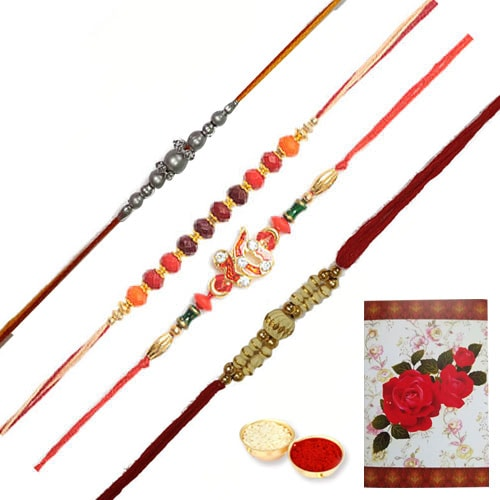 Trendsetting Collection of 4 Decorative Rakhi
