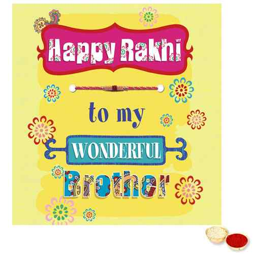 Thread Rakhi with Rakhi Card