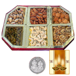 Silver Plated Coin with Dryfruit