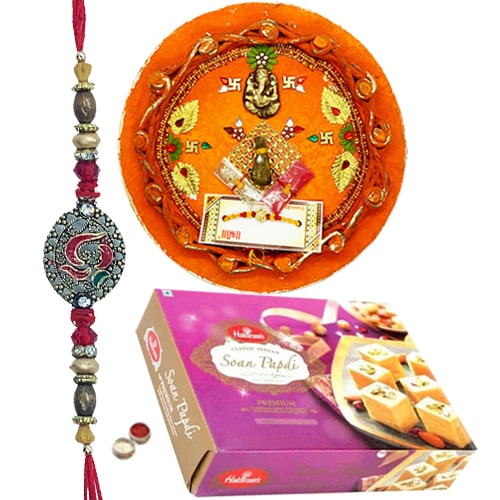 Auspicious Thali with Rakhi and Soan Papdi 250 Gms. from Haldirams
