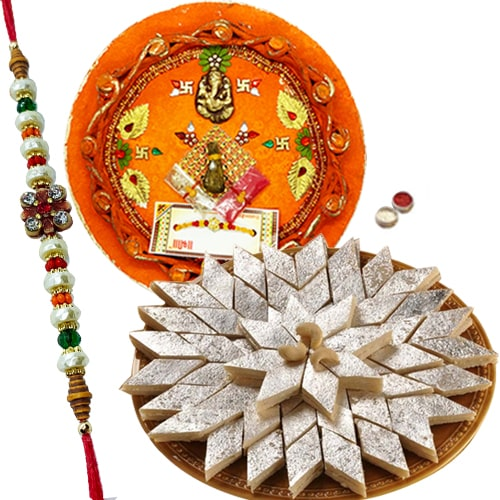 Rakhi Thali with Rakhis, Kaju Katli<br><font color=#0000FF>Free Delivery in USA</font>