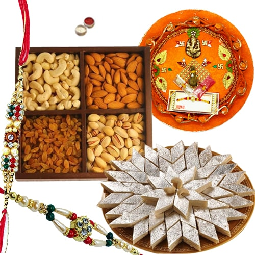 Rakhi Thali with Rakhis, Kaju Katli and Dry Fruits<br><font color=#0000FF>Free Delivery in USA</font>