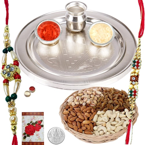 Rakhi Thali with Rakhis and Dry Fruits for Auspicious Occasion
