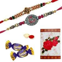 Elegant 2 or More Designer On Ethnic Rakhi Combined with Chocolates