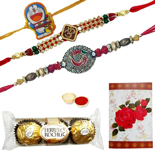Fantastic 2 Ethnic Rakhi and 1 Kids Rakhi Combined with 3 Pcs. Ferrero Rocher Chocolates
