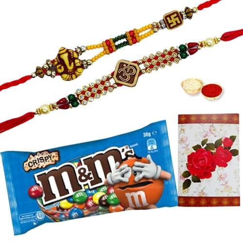 Exquisite 2 or More Designer Ethnic Rakhi and Chocolates for Celebration