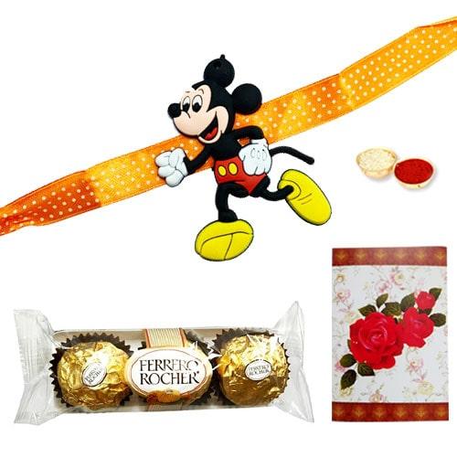 Delicious 3 Ferrero Rocher Choco Delight and Rakhi for Kids