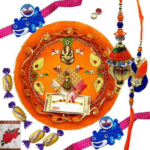 Soothing Rakhi Pair for Bhaiya Bhabhi and Kids Set with 3 Tempting Chocos