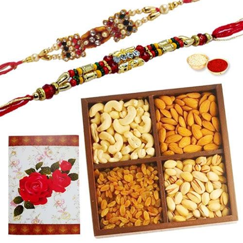 Exciting 2 or More Designer Ethnic Rakhi with 250 Gms. Dry Fruits Gift Combo