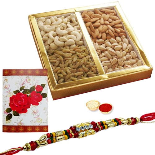 Tasty 500 Gms. Dry Fruits Teamed with One or More Ethnic Rakhi