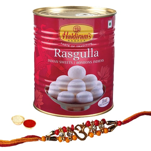 Auspicious Rakhi With Haldirams 1 Kg. Rasgulla Pack