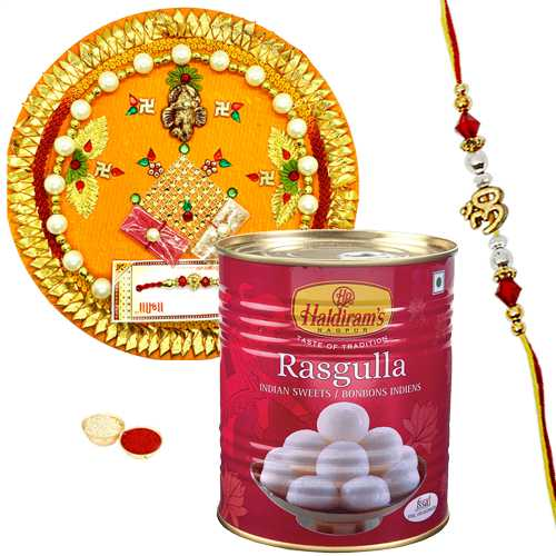 Amazing Rakhi with Rakhi Thali and Haldirams Rasgulla Pack