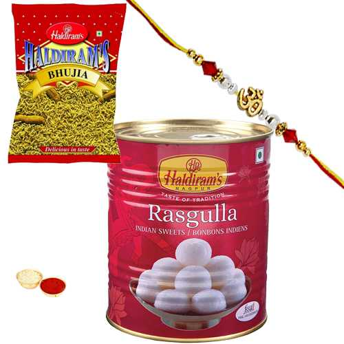 Delicious Haldirams 1 Kg. Rasgulla Pack and 200 gm. Bhujia with a Rakhi and a Handmade Paper Card