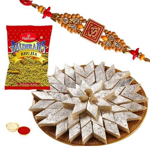 One or More Designer Ethnic Rakhi with 500 Gms. Kaju Katli n 200 Gms. Haldirams Bhujia<br /><font color=#0000FF>Free Delivery in USA</font>