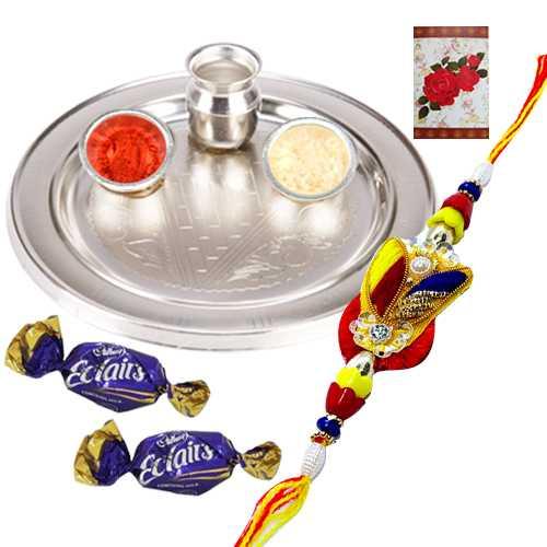 Stylish Silver Chromed Thali and Zardosi Rakhi with 2 Chocolates
