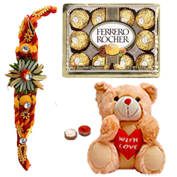 Rocking 8 Inch Teddy Plush with 12 Ferrero Rocher and Rakhi for Kids