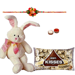 Mesmerizing 8 Inch Bunny with 75 Gms. Chocos from Hersheys Kisses and Kids Rakhi