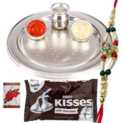 Silver Plated Rakhi Thali with One or More Rakhis n Hersheys Kisses Chocolates<br /><font color=#0000FF>Free Delivery in USA</font>