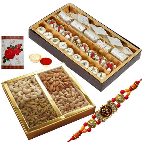 Rakhis with 500 Gms. Assorted Sweets with 500 Gms. Assorted Dry Fruits<br /><font color=#0000FF>Free Delivery in USA</font>