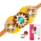1 Zardosi Rakhi with Roli Tika<br /><font color=#0000FF>Free Delivery in USA</font>
