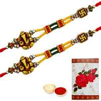 2 Auspicious Ganesh Rakhi<br><font color=#0000FF>Free Delivery in USA</font>