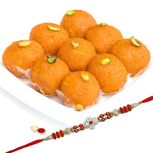 Ladoo and One Designer Rakhi with free Roli Tikka