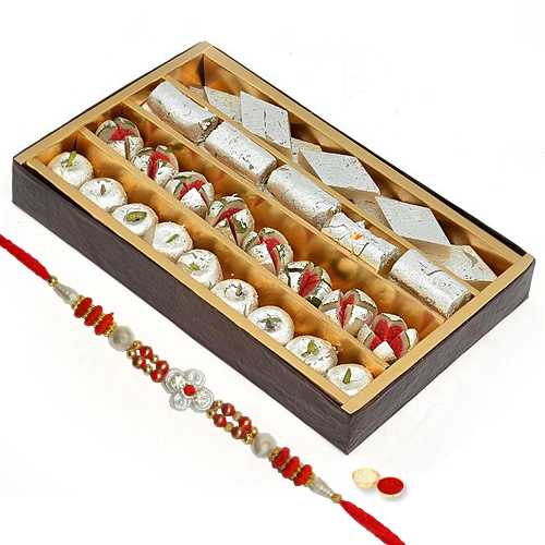 Assorted Sweets and One Designer Rakhi with free Roli Tikka