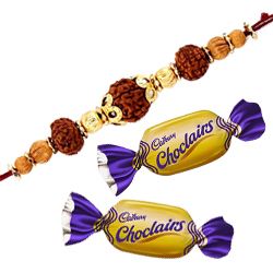 Delicious 2 Choco Pleasure and Stylish Rudraksha Rakhi