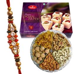 Enticing Sweets, Dry Fruits Hamper and Rakhi