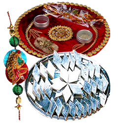 Fascinating Rakhi, 100 gm. Kaju Katli and Puja Thali