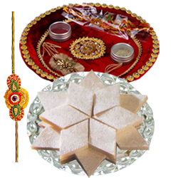 Mesmerizing Rakhi with Puja Thali and 100 gm. Badam Katli